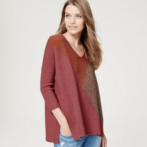 LOFT Colorblock Rust Oversized Sweater Poncho L